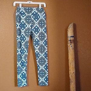 Lularoe Women's OS Green Blue Aztec Print Legging
